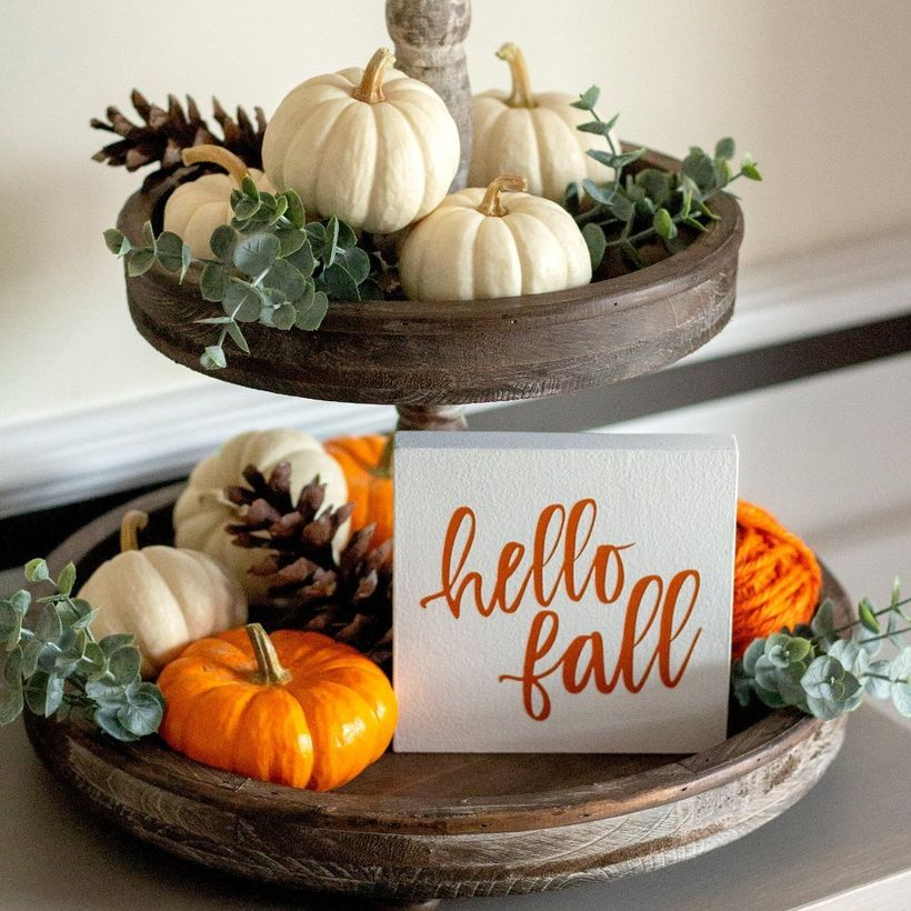 White and orange pumpkins for centerpiece decorate