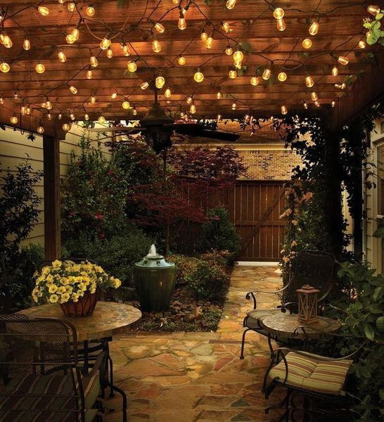 Wooden porch with string lamps