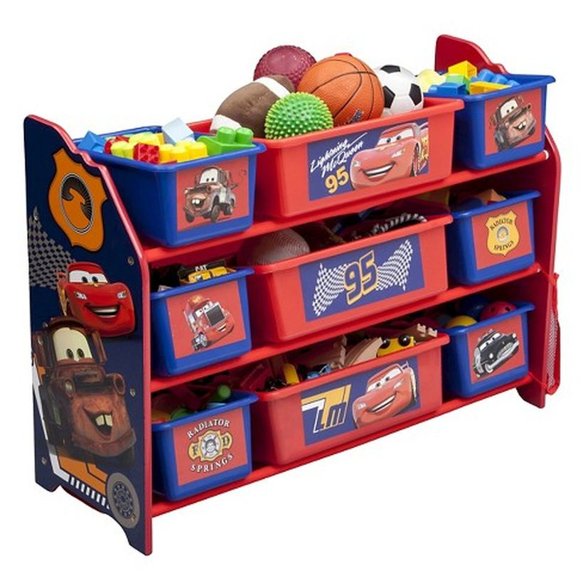 An adorable storage ideas with red color, multi level design and disney pixar cars
