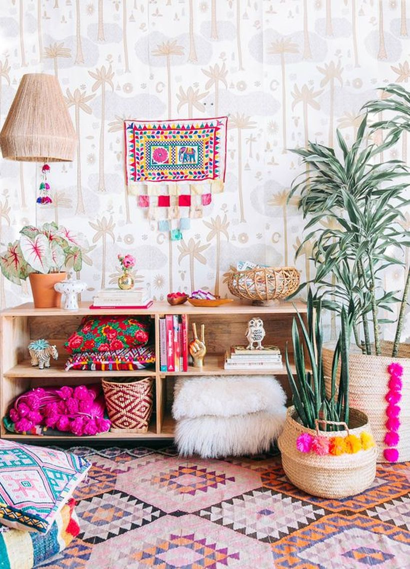 An amazing furniture for bohemian home decorating with cabinet hudson cubby bookcase, shiraleah small felicity basket bowl, patterned rug and venice pom pom basket.