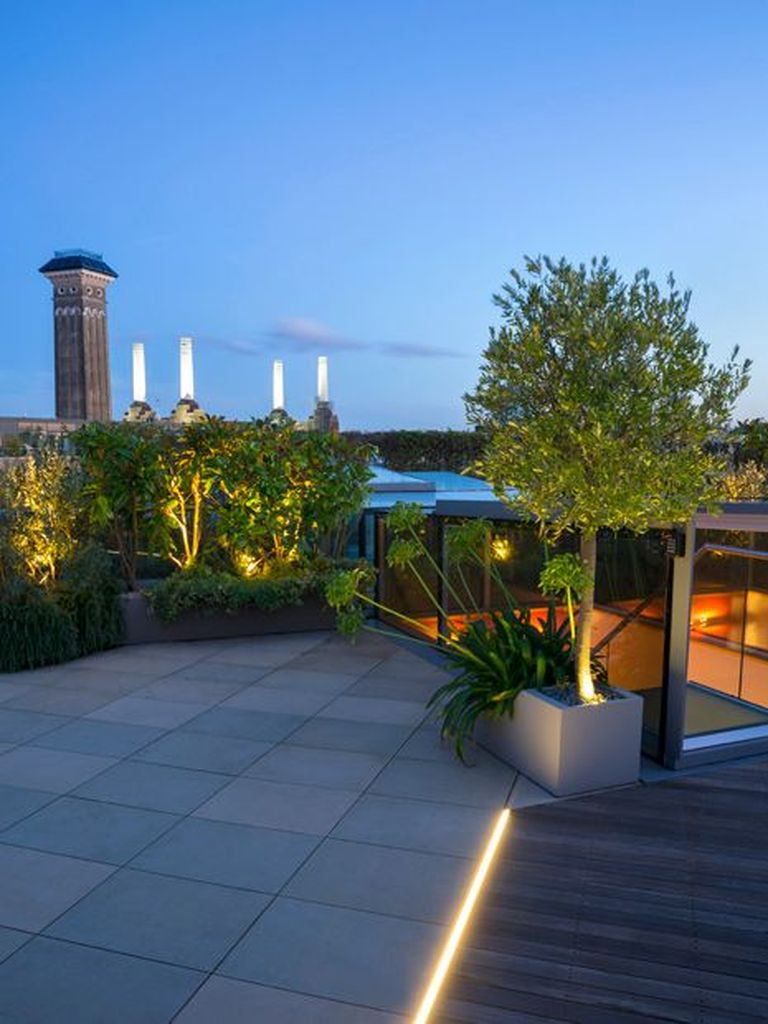 An amazing modern rooftop lighting by lighting merge on the plant and lighting on the floor to perfect your rooftop garden