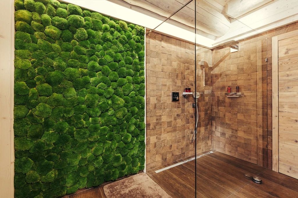 An elegant bathroom design with brown wall combined with moss wall to perfect your bathroom design