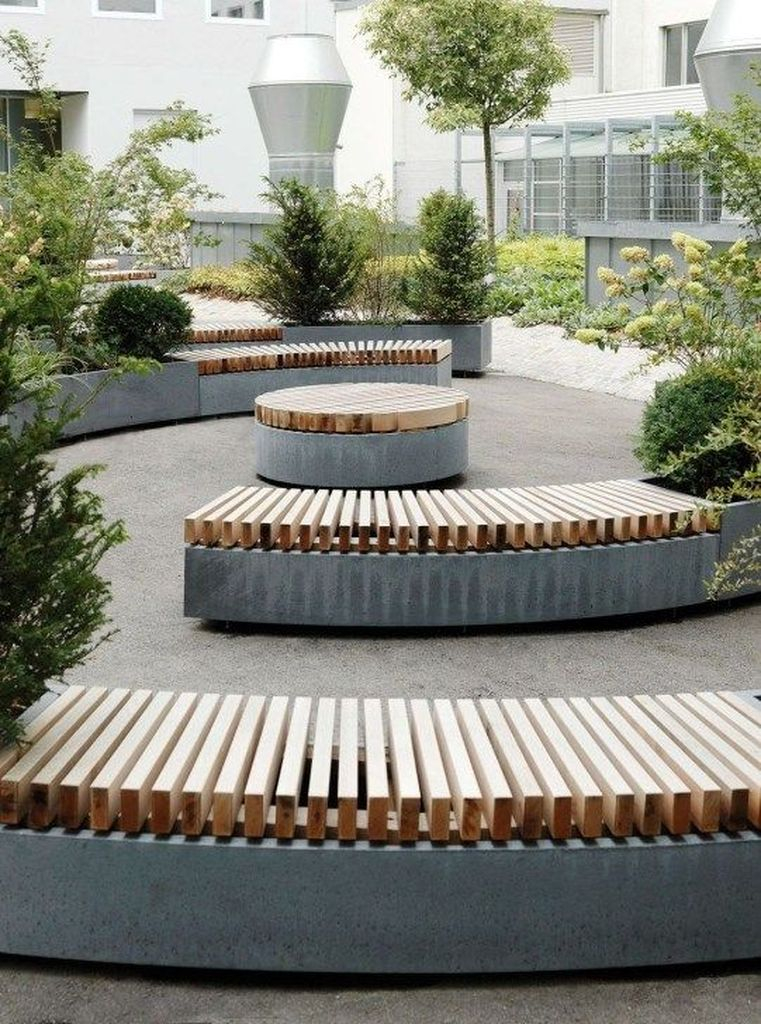 Bench combined with round table to perfect your outdoor design