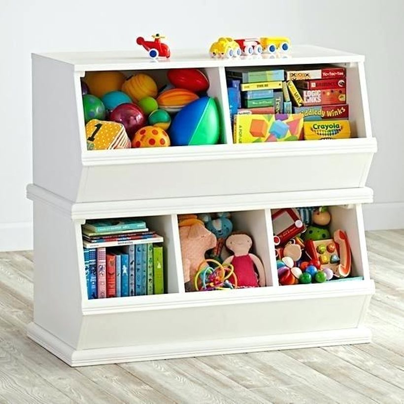 Best childrens toy storage with white color, multilevel box design untuk terlihat bagus