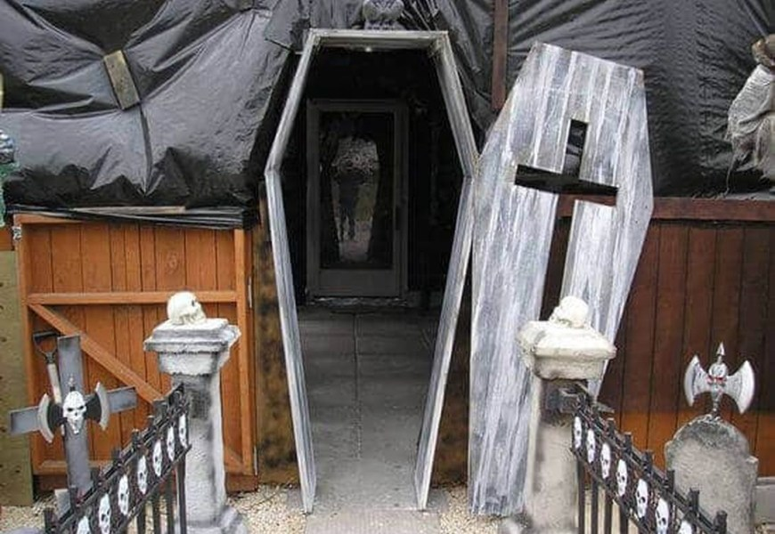 Coffin entrance halloween door.