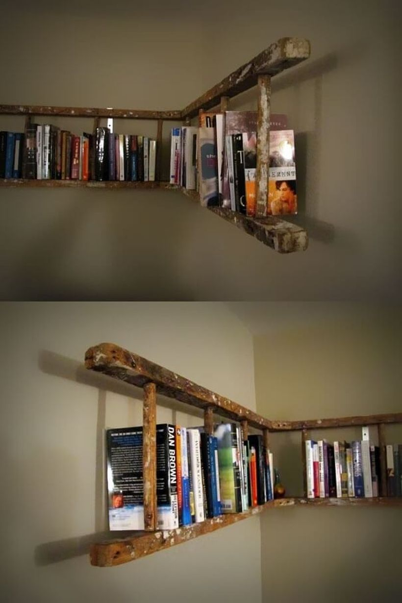 Creative hanging bookshelf design from remodle ladder you must know