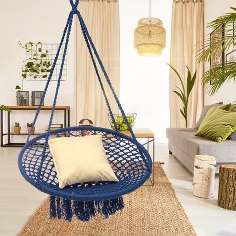 Dark blue macrame chair.