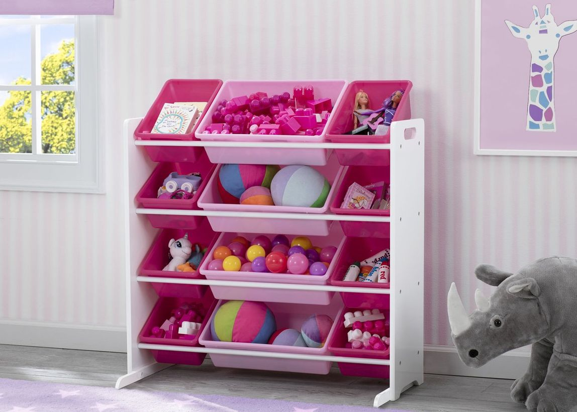Fabulous storage ideas with red and pink color, multi level design to complete children's room