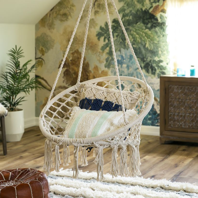 Hanging cotton macrame rope.