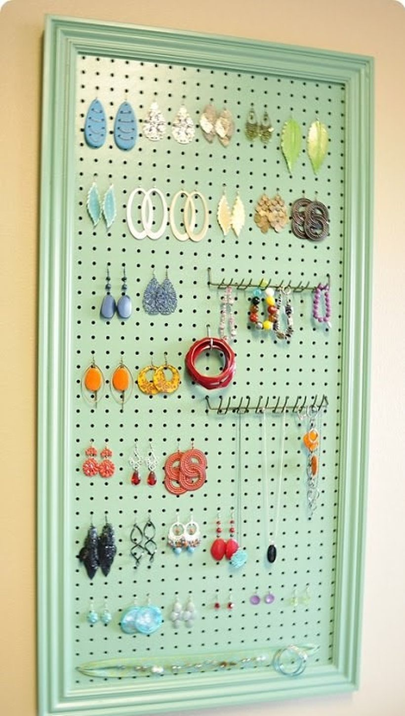 Home decoration diy projects with pegboard organization rack to hang accesories jewelry so it's easy to find when you want to use
