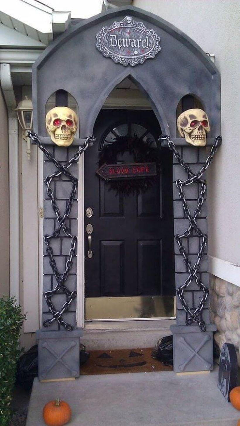 Interesting arch halloween door.