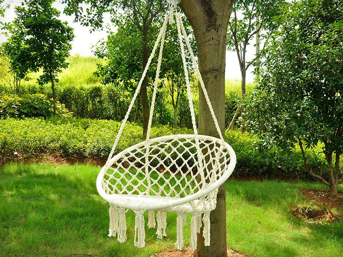 Large macrame swing chair.