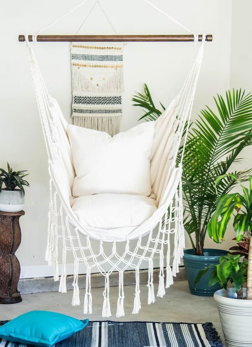 Natural off white macrame swing chair.