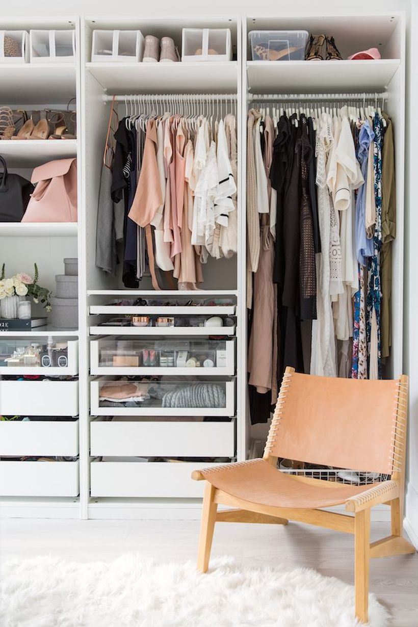Organized wardrobe hang strategically.
