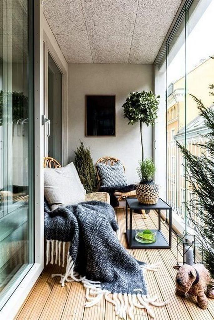 Rustic small balcony with plants decoration