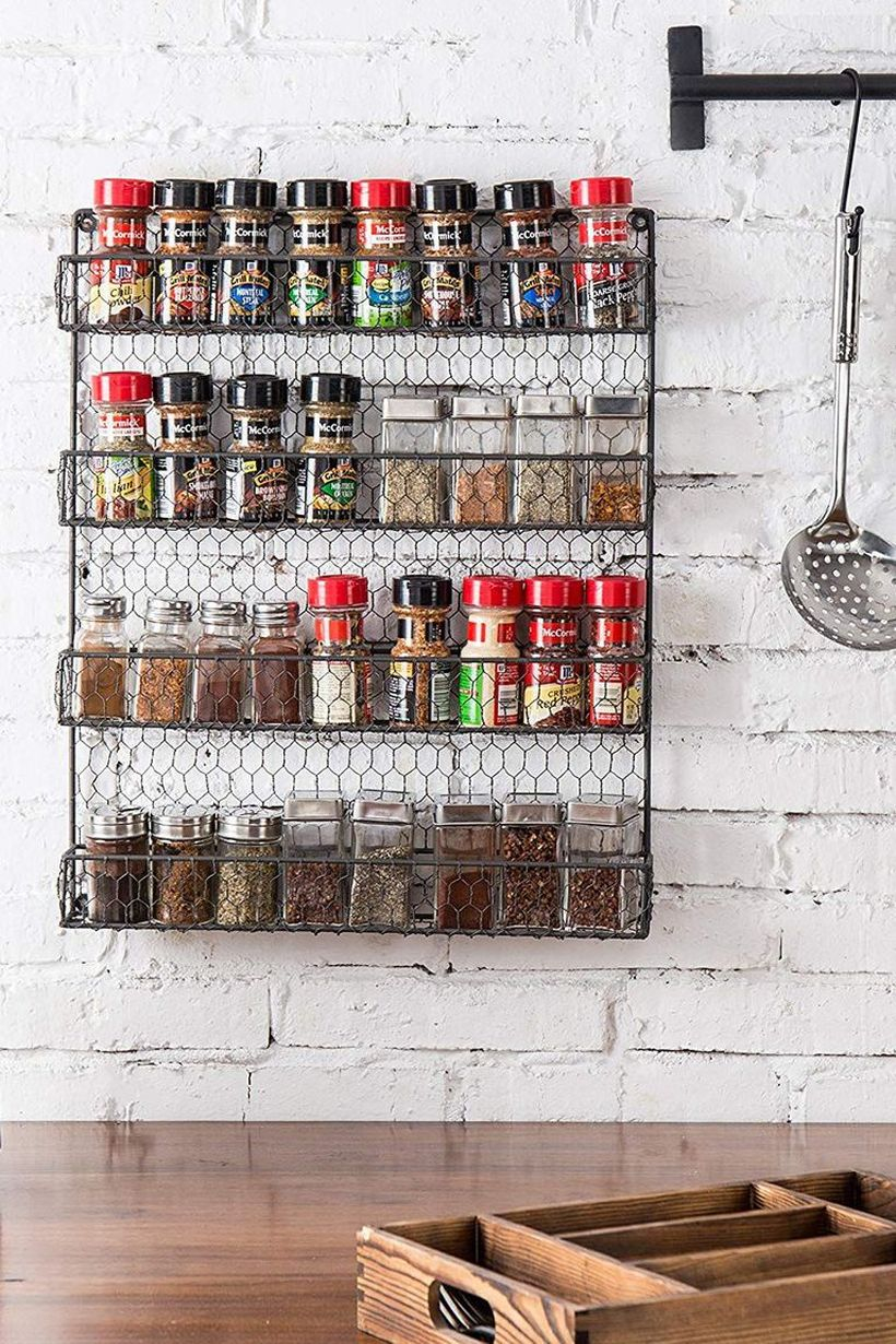 Rustic wall mounted spice rack from wire you can try for kitchen