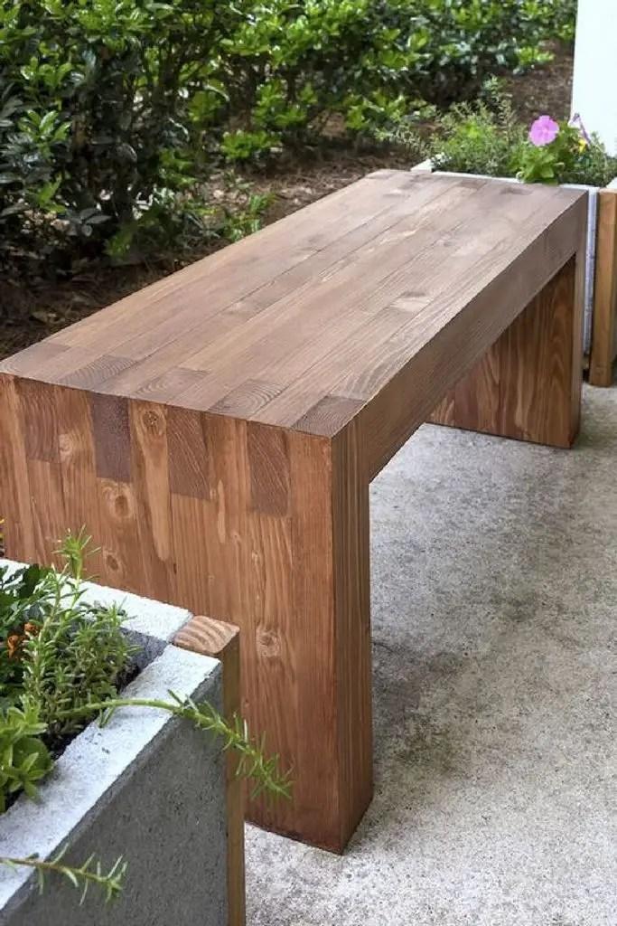 Rustic wooden bench for outdoor design