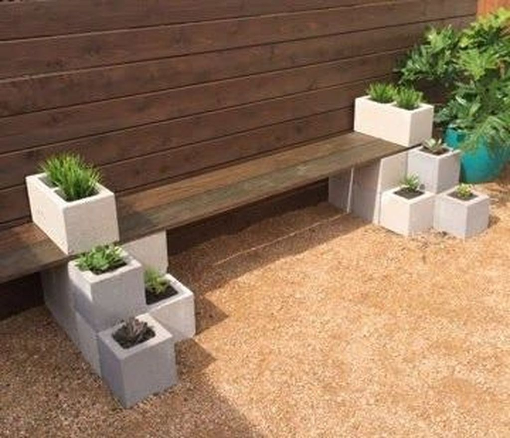 Simple wooden bench combined with plants