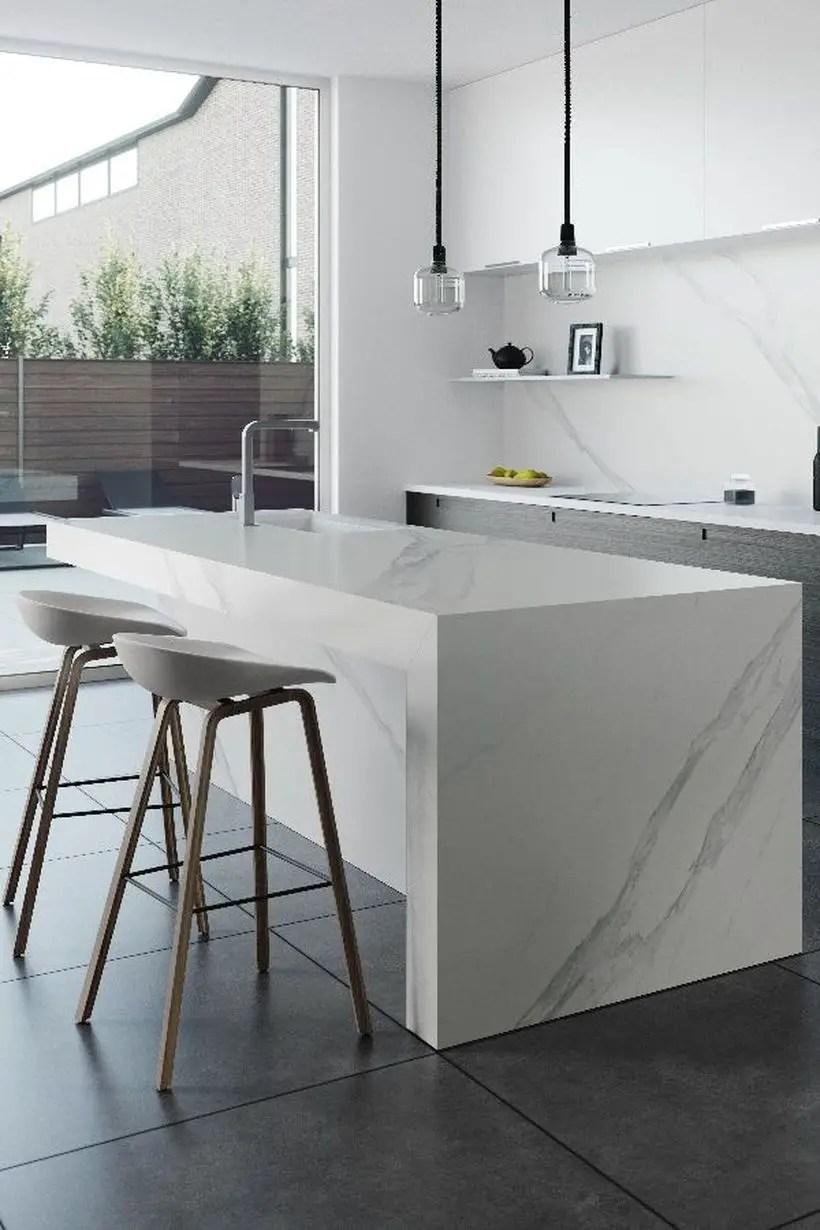 Square white countertop design with unique chairs