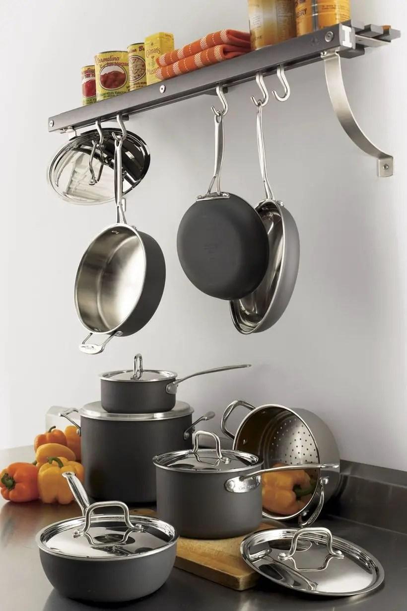 Wall-mounted pot rack.