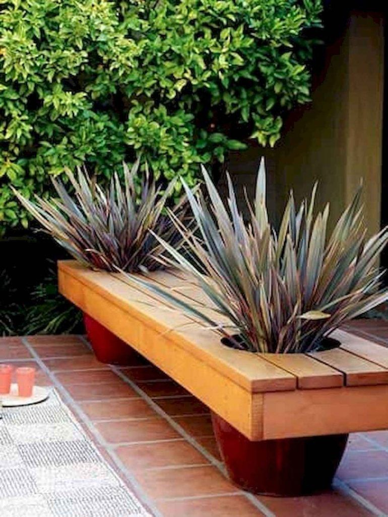 Wooden bench combined with plants
