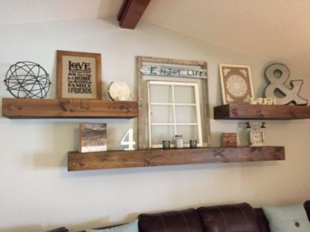 Wooden shelves on the walls with iron decoration