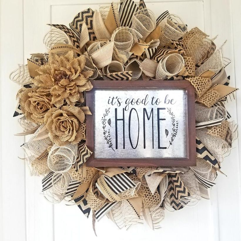 Beautiful home wreath with mesh and ribbon to create charming look for your door or home decor