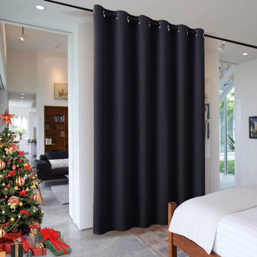 Black curtain room divider