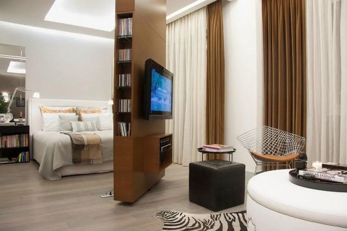 Brown room divider storage cabinet