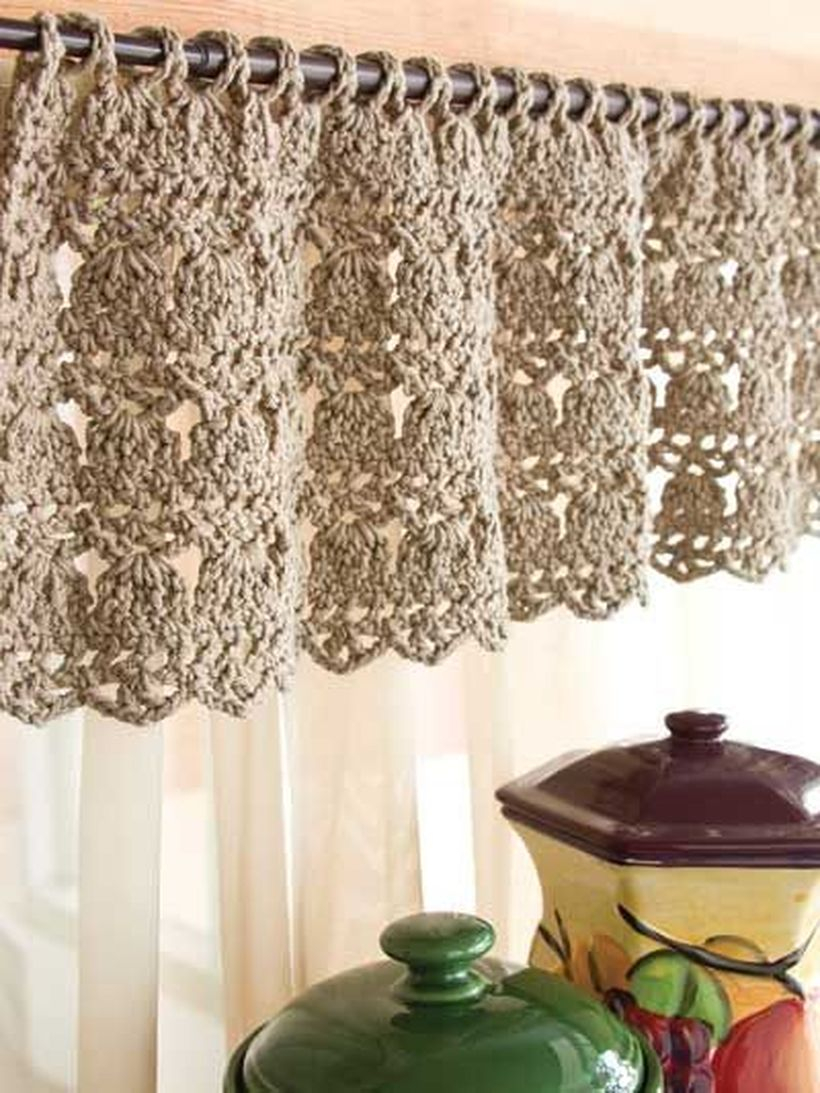Brown sweater curtain