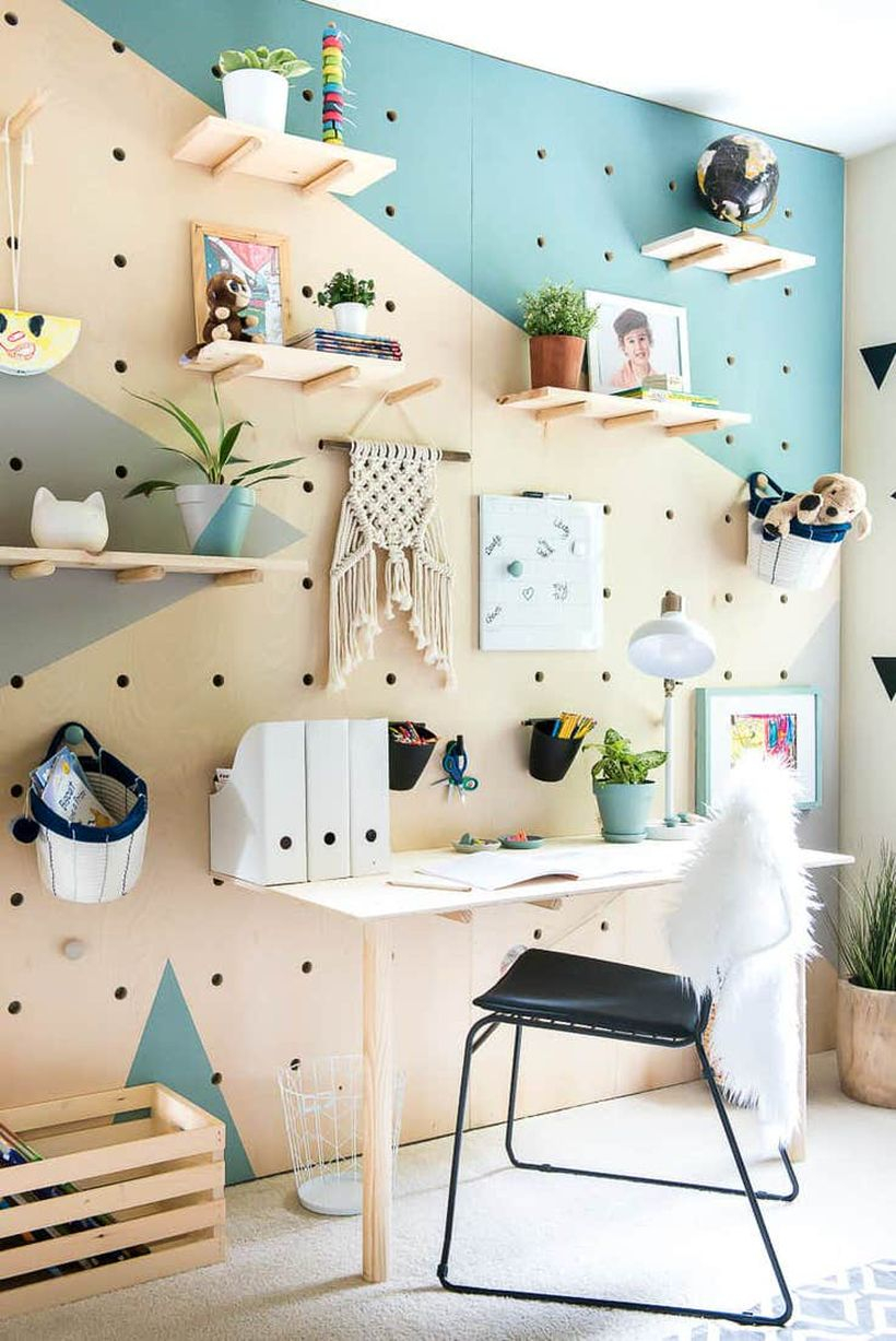 Creative diy pegboard with pegboard organization hanging rack to store house plant and photo gallery