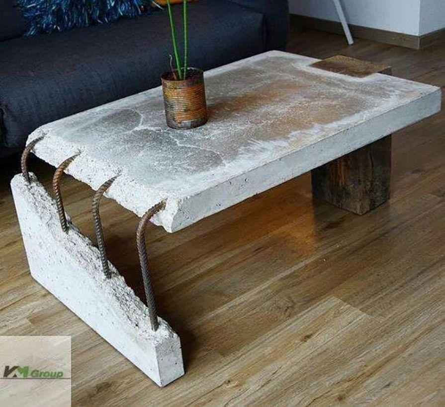Creative coffee table from foundation and wooden
