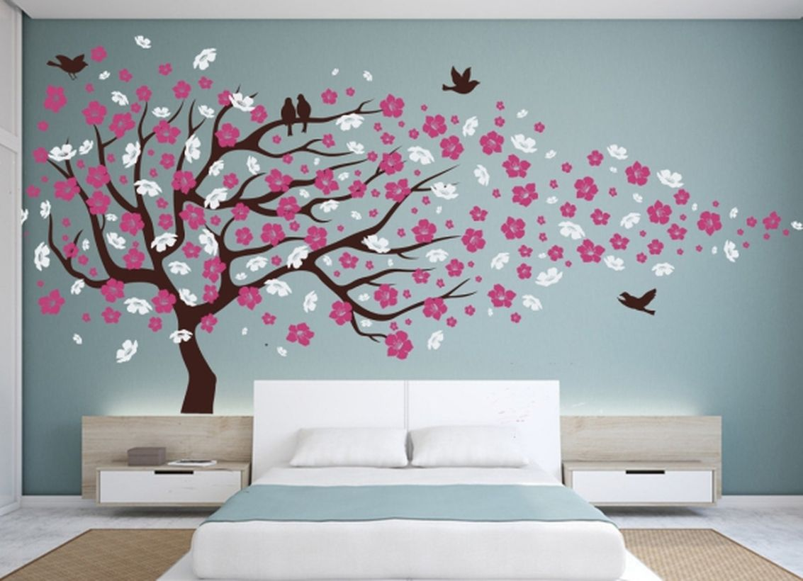 Cute wall painting ideas for bedroom with cherry blossom tree to create beautify the room