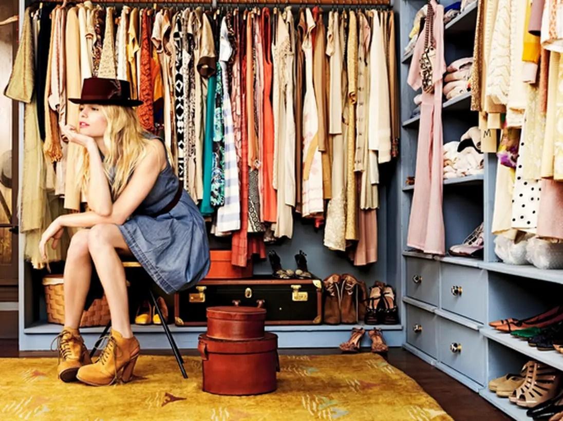 Dark blue wooden wardrobe.