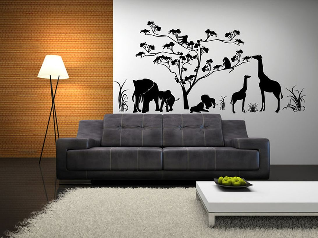 Elegant living room wall painting with theme with a black and white painting of an animal