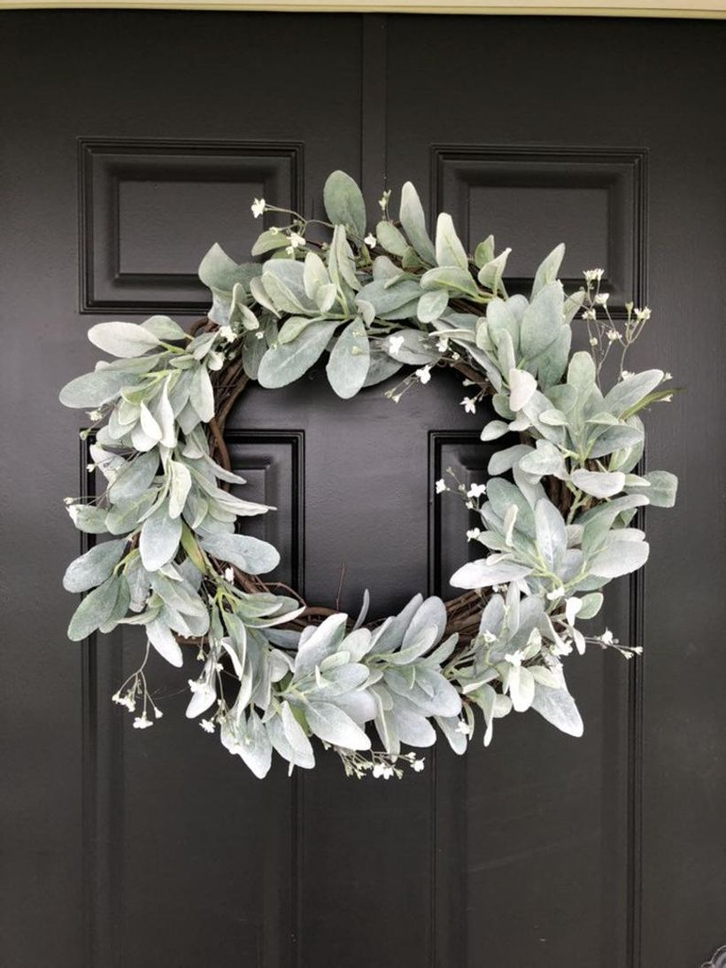 Faux floral lamb's ear wreath with tiny white flower to beautify to hang on a door