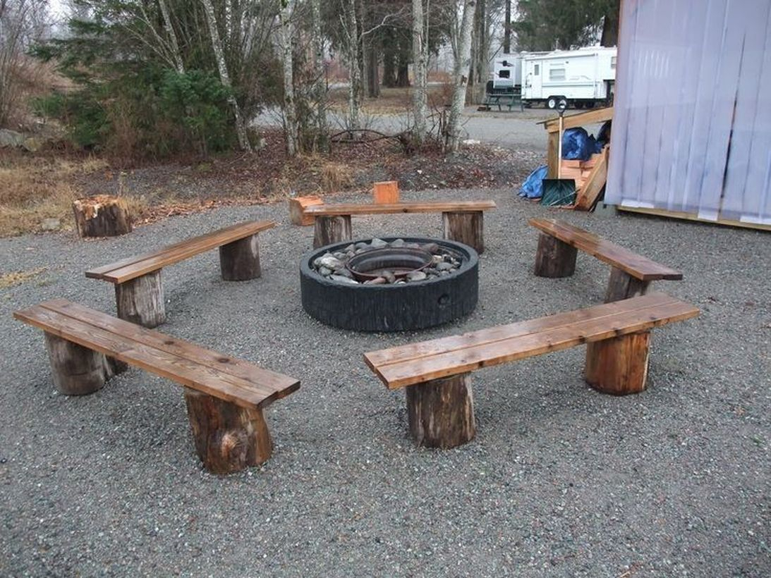 Fire pit from wooden with wooden chair