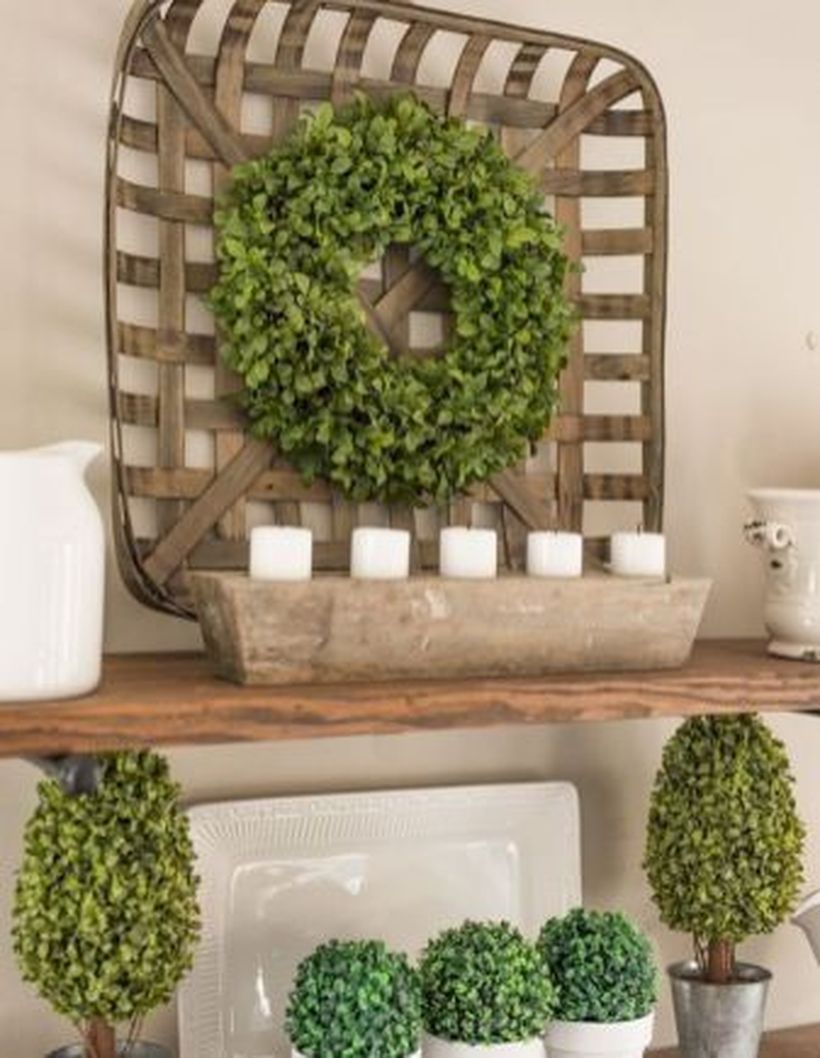 Greenery on wooden basket