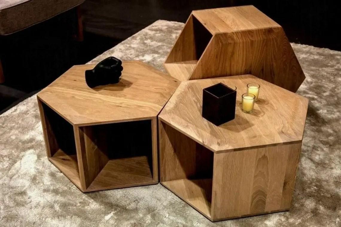 Hexagon wooden coffee table