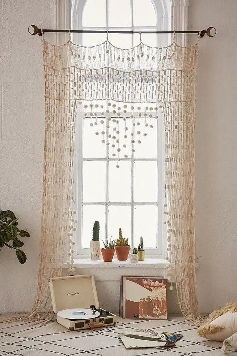 Long white patern curtain