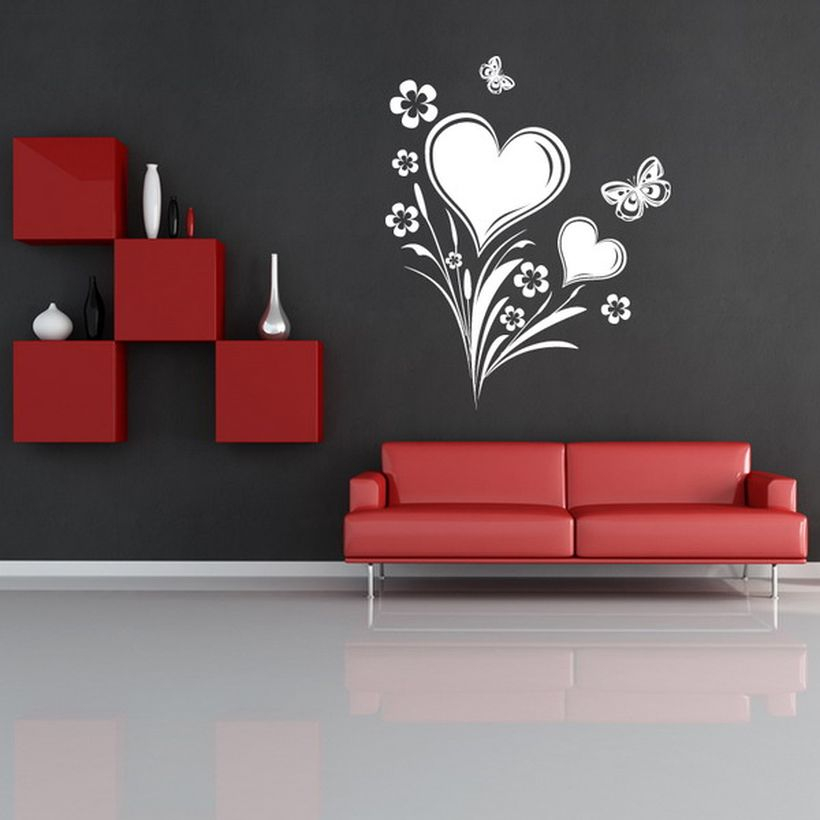 Minimalist living room decor with wall painting heats and flower themes to create romantic atmosphere