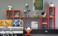 Orange geometric bookshelves design