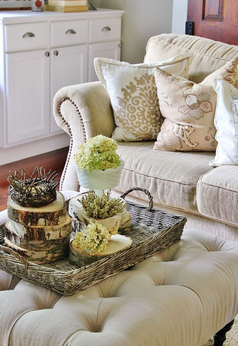 Rattan basket to store farmhouse centerpiece