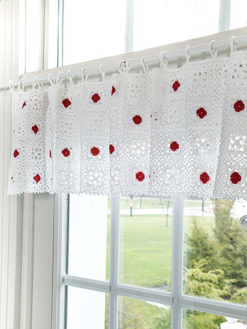 Red motife in white color curtain