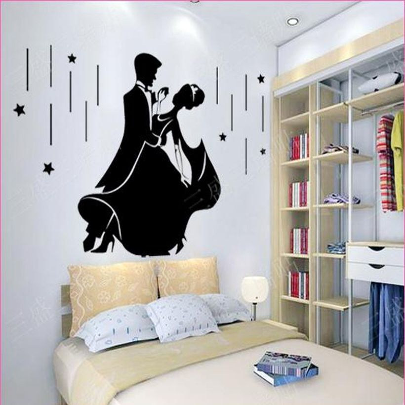 Romantic bedroom design with creative wall painting couple on the dance floor for your inspire