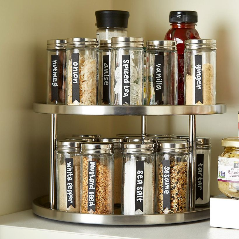 Round silver spice rack