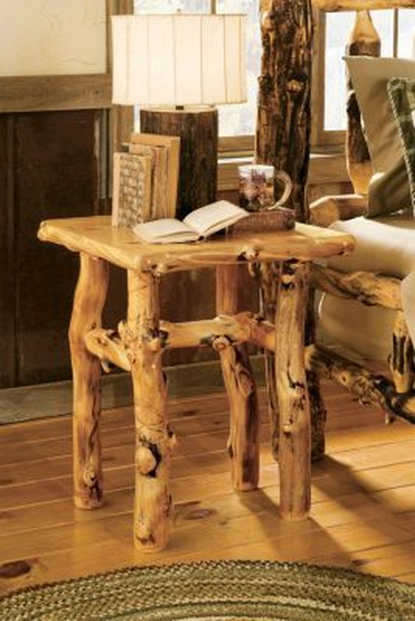Rustic furniture with tree cut for small table