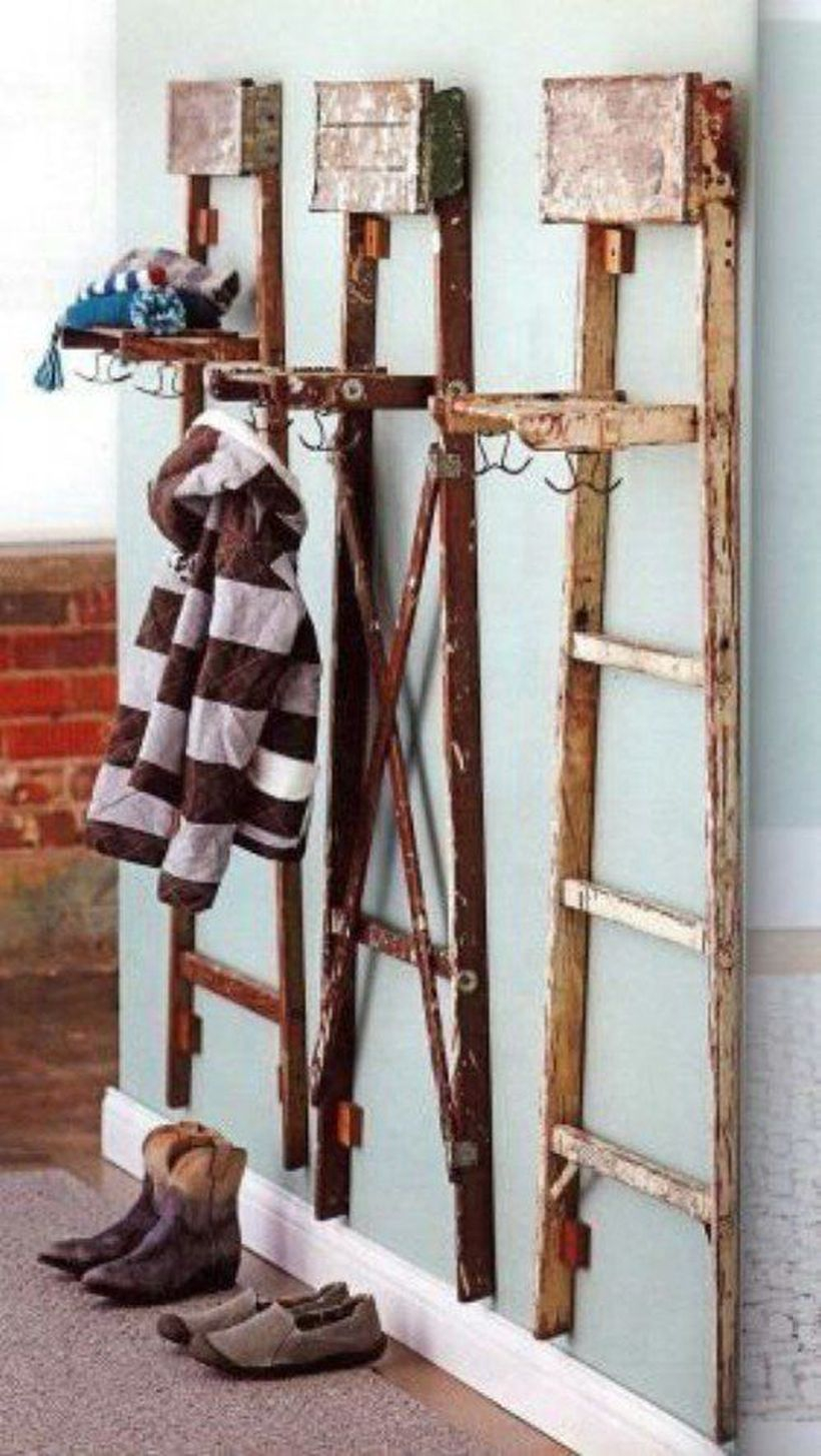 Rustic wooden ladder cloth hook