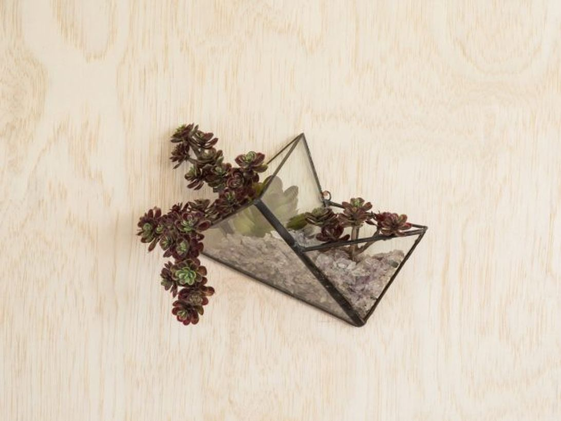 Simple terrarium designs with geometric terrarium irregular triangle shaped hanging on the wall