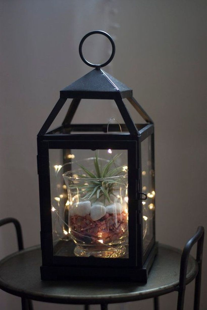 Simple lantern terrarium with black iron lantern, succulent, white gravel and decorative lighting for your home decor